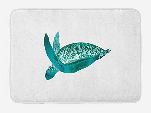 Tropical Turtle - Lunarable Turtle Bath Mat by, Tropical Climate Animal Hawaii Fauna Underwater Diving Aqua Reptile, Plush Bathroom Decor Mat with Non Slip Backing, 29.5 W X 17.5 W Inches, Jade Green Pale Sea Green