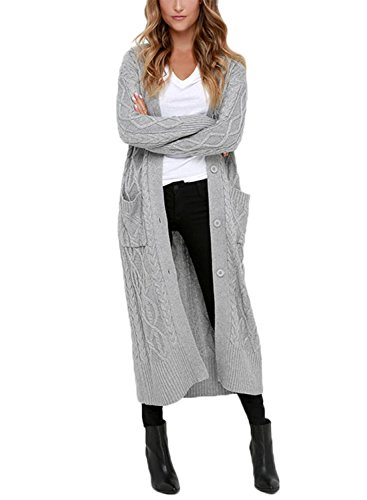 Dokotoo Womens Ladies Cozy Fall Winter Casual Open Front Long Sleeve Pocket Long Chunky Cardigans Sweater Coat Outwear Grey X-Large -