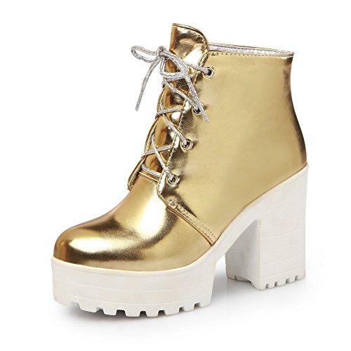 - AdeeSu Womens Platform Bandage Solid Business Gold Imitated Leather Boots - 5 B(M) US