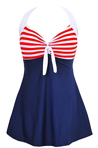 Century Star Women's Vintage Sailor Straps Halter Pin Up One Piece Skirtini Cover Up Swimdress Kawaii Blue Red Stripes Medium (US 4-6)