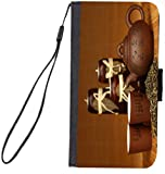 UKBK Chinese Tea Teapot and Teacups with Chinese words Design Galaxy S7 Edge PU Leather Wallet Flip Case with Kickstand and Magnetic Flap (for Samsung Galaxy S7 Edge ONLY)