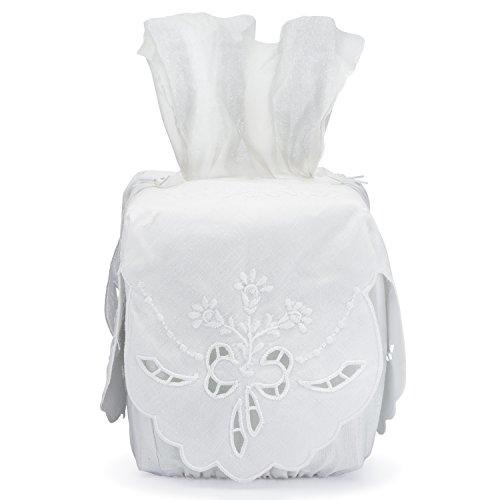 - Tissue Box Cover White Linen Square with Richelieu