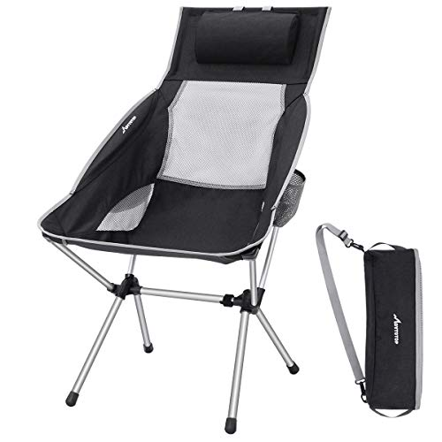 MOVTOTOP Camping Chair with Adjustable Pillow, Lightweight Folding Camping Chair, Outdoor Compact...