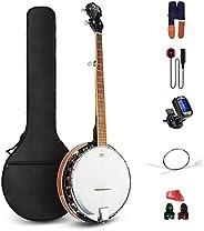 Vangoa 23 Inch 4 Strings Concert Banjo Ukulele Kit with Wretch, Padded Bag, Tuner, Pick, Nylon Strings and Pic