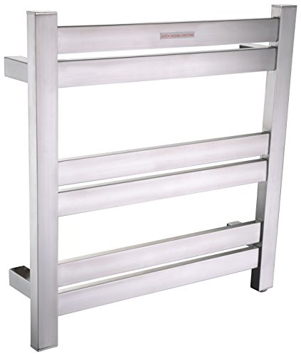 - ANZZI Starling 20.47 in x 20.87 in Modern 6-Bar Wall Mounted Electric Towel Warmer in Brushed Nickel | Stainless Steel 93W Heater Tower Drying Rack for Bathrooms and Spa | TW-AZ025BN