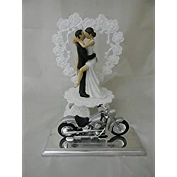 Wedding Reception Party Sexy Bride Motorcycle Biker Dark Hair Cake Topper