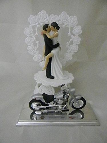 Wedding Reception Party Sexy Bride Motorcycle Biker Dark Hair Cake Topper