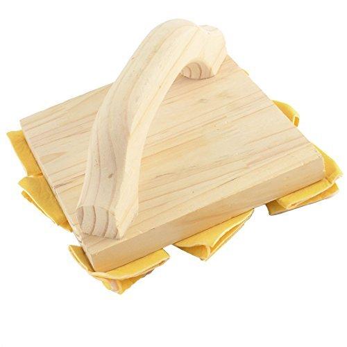 eDealMax Accueil forme carre avec manche en bois Peinture murale Pinceau Motif bricolage dcoration jaune