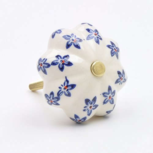 Dark Blue Painted Floral Flower Ceramic Knob, Pull, Handle, for Cupboards, Doors, Cabinets, Drawers, Furniture & Kitchens (Includes Hardware) 4.4 cm diameter 3.2 cm rod length