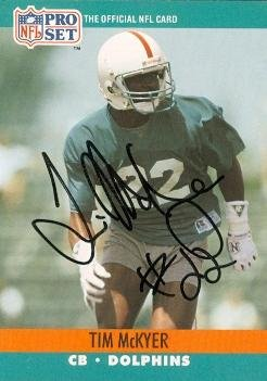 Tim McKyer Autographed Football Card (Miami Dolphins) 1990 Pro Set No.561
