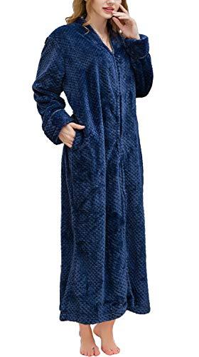 Soojun Women's Waffle Fleece Soft Zip Up Front Bathrobe, Navy, Large/X-Large (Fleece Bathrobe Zipper)