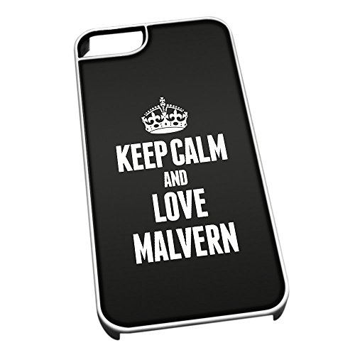Bianco cover per iPhone 5/5S 0416 nero Keep Calm and Love Malvern