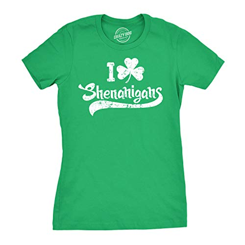 T-shirt Irish Drunk - Womens I Clover Shenanigans T-Shirt Funny Irish Clover Shamrock Tee for Women (Green) - S