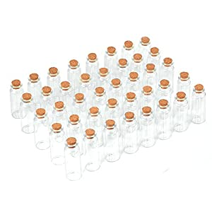 40 Pcs, 20ml Mini Glass Jars Bottles with Cork Stoppers, DIY Decoration Small Glass Bottles Favors,Mini Vials Cork,Message Glass Bottle Vial Cork, Wedding Decoration,Party Favors, Wishing Bottles
