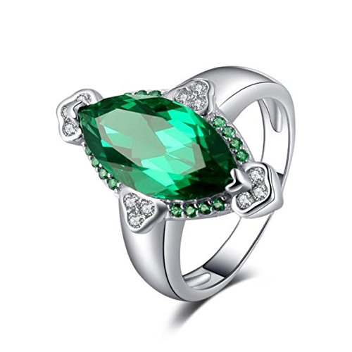 VERA NOVA JEWELRY Spectacular 3.9ct Marquise Synthetic Emerald Ring Made with Genuine 925 Sterling Silver