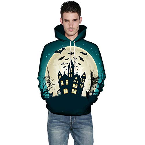 kaifongfu Halloween Hoodies Top,Long Sleeve Couples 3D Print Blouse Shirts(Green,XL)