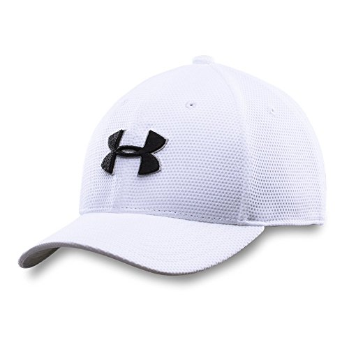 Under Armour Boys' Blitzing II Stretch Fit Cap, White /Black, Youth Small/Medium