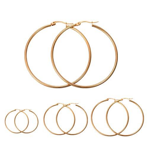 Calors Vitton 4 Pairs a Set Stainless Steel Large Hoop Earrings for Women 30-60mm - Gold Hoop Earrings