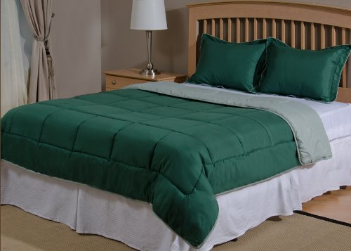 Reversible Mini Bed Set - 3 Piece - Pine Green / Frosty Green - King Size