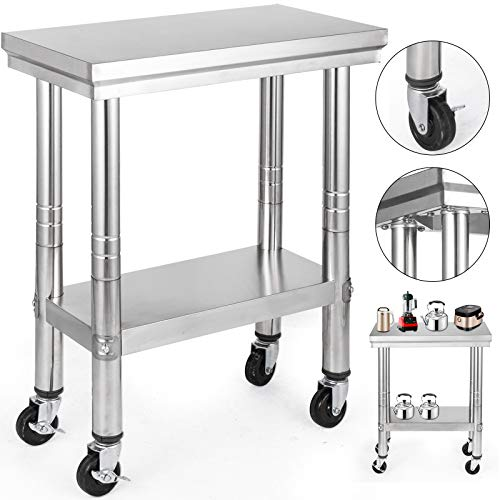 (VEVOR Stainless Steel Work Table with Wheels 12x24 Prep Table with casters Heavy Duty Work Table for Commercial Kitchen Restaurant Business Garage Sliver)