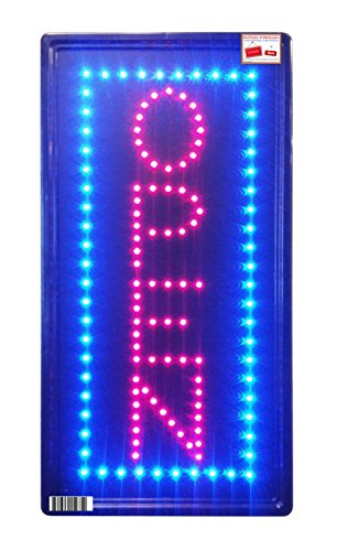 Open Vertical LED Neon Sign 10x20'' Now Brighter and Bigger with On/off Animation + On/off Switch +Chain by WetChalks ® Wholesaler