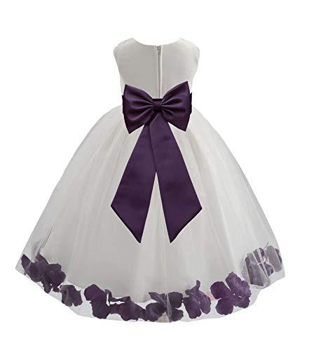 Ivory Tulle Floral Petals Flower Girl Dress Formal Bridal Dresses 302T 6 -