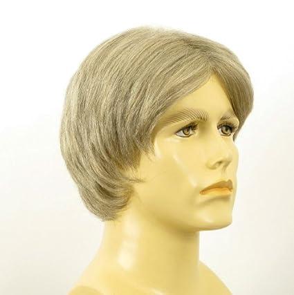 Peluca hombre corto de cabello 100% natural blanco y gris MARTIN 51