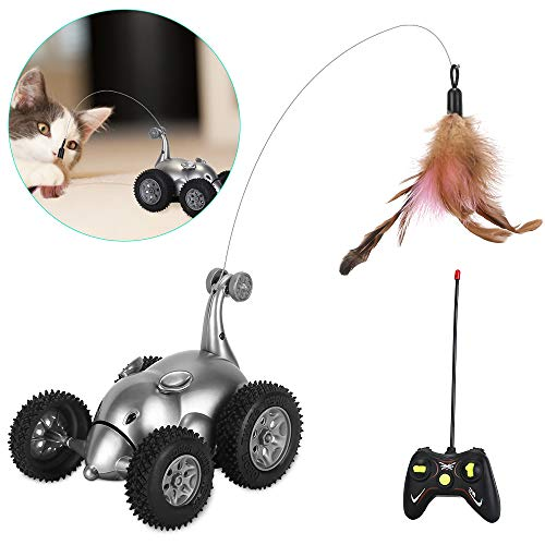 SlowTon Remote Cat Toy, New Version Mouse Shape Interactive Moving Automatic Robotic Rat Sound Chaser Prank Car For Kitten | Stimulate Cat Hunting Instincts | Funny Gifts For Pet (No Battery Included)