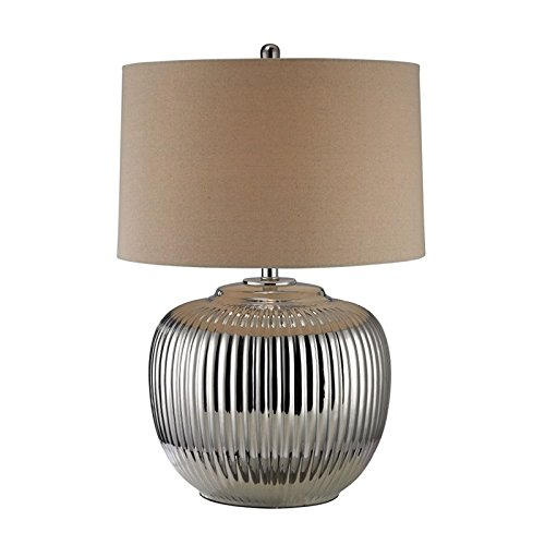 Dimond Lighting Ribbed Ceramic LED Table Lamp in Silver Plate (Ceramic Ribbed)