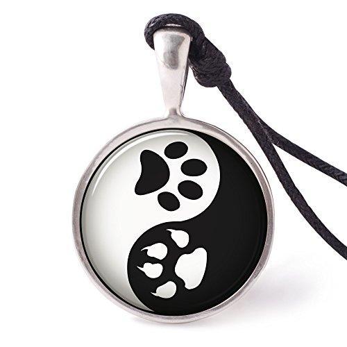 Vietguild's Yin Yang Paw Prints Necklace Pendants Pewter Silver
