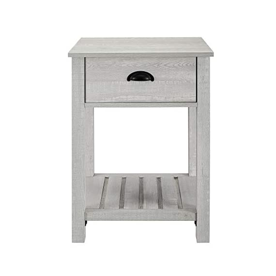 Walker Edison Furniture Company Farmhouse Square Side Accent Set Living Room End Table with Storage Door Nightstand Bedroom, 18 Inch, Stone Grey - 1 drawer farmhouse style nightstand Painted metal half circle handle Open and closed storage - nightstands, bedroom-furniture, bedroom - 41r6TvqzxgL. SS570  -
