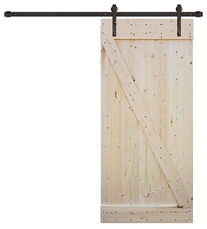 Amazon com: TMS 8FT Dark Coffee Sliding DIY Barn Door