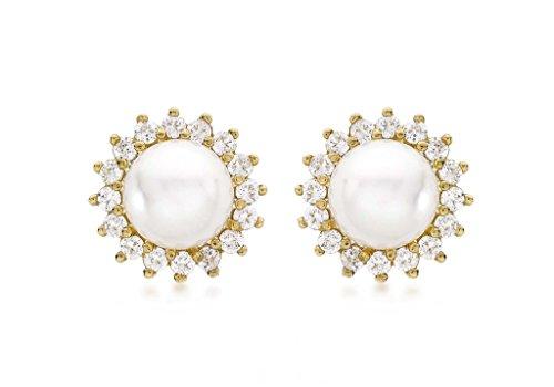 Or jaune 9ct 12mm Perle clair et pierre Cluster Boucles d'oreille à tige