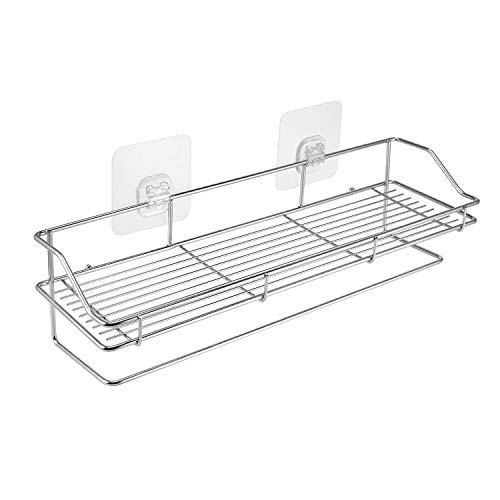 YEETE Adhesive Shower Caddy with a Hanger Bath Shelf Storage Combo Organizer Basket, Kitchen Bathroom Accessories Storage Rack No Drilling Wall Mounted Rustproof Stainless Steel