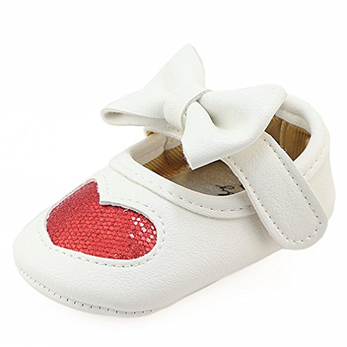 Z-T FUTURE Infant Baby Girls Shoes Cute Bow Diamonds Sparkly Mary Jane Crib Dress Princess Shoes (4.72 inch (6-12 Months), Heart-Red)