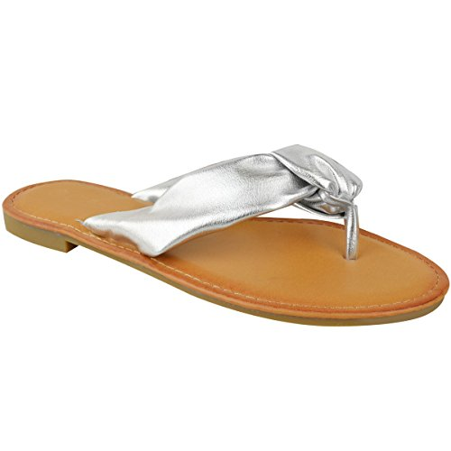 Size Beach Holiday Silver Metallic Toe Open Sandals Flat Post Thirsty Flop Summer Flip Womens Fashion qvgB7Pw