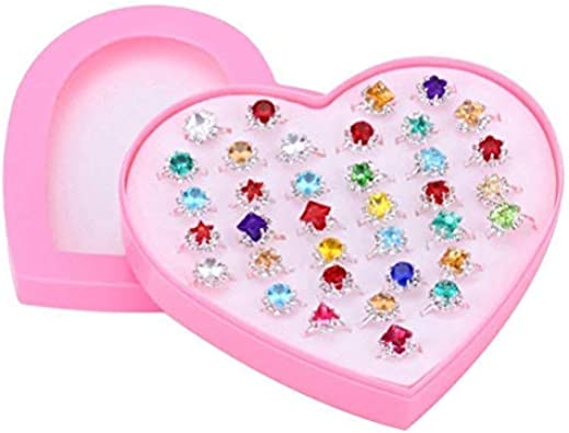 INTVN Anillos Ajustables Anillos deJuguete Joyer/ía Conjunto de anillos con caja para ni/ños regalo de cumplea/ños 36 Piezas