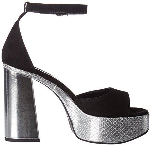 Atelier Mercadal Tina - Plataforma Mujer Noir (camoscio nero/namiba argento)