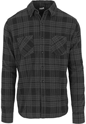 Urban Classics Herren Langarmshirt Hemd Checked Flanell Shirt 2 mehrfarbig (Charcoal/Schwarz) X-Large