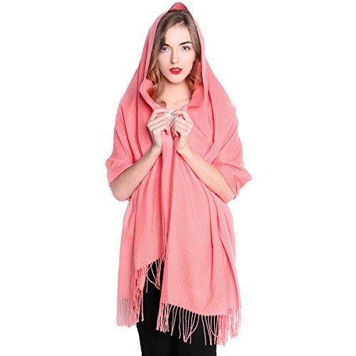 Cashmere Dress Womens (REEMONDE Womens Super Soft Long Shawl Solid Colors Warm Pashmina Big Scarf (Salmon))