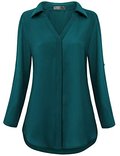 (Miss Fortune Work Wear Tops for Women Office, Juniors Chiffon Long Sleeve Blouses Pintuck Elegant V Neck Dressy Shirts Flattering Cuvred Bottom Beauty Tunic Prime Wardrobe Womens Dark Cyan L)