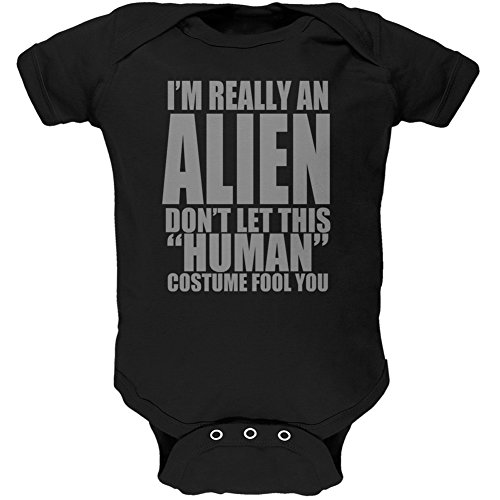 [Halloween Human Alien Costume Black Soft Baby One Piece - 12-18 months] (Halloween Costumes For 16 Month Old Girl)