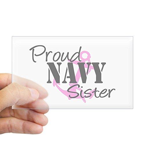 CafePress Proud Navy Sister - Pink Anch Sticker (Rectangular Rectangle Bumper Sticker Car Decal
