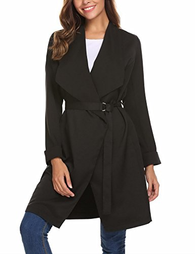 Mofavor Women's Lapel Collar Casual Open Front Cardigan Belted Trench Coat Jacket With Pockets(Black,L) by Mofavor (Image #3)
