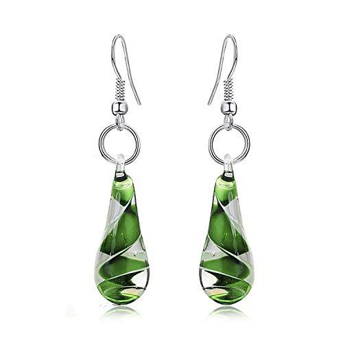 (ROVSKI Fashion Droplet Shape Earrings Spiral Inner Flower Glaze Glass Ball Pendant Unique for Women Girls )