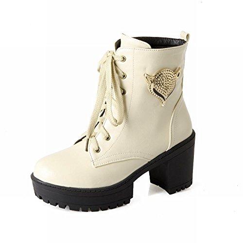 Charm Foot Fashion Ladies Platform Block Heel Chukka Boots Beige 4C3YkEdnu