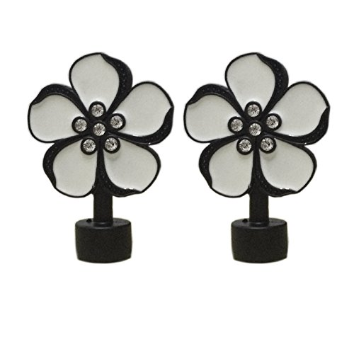 YING CHIC YYC 2Pcs Flower Window Treatment Finial Curtain Rod Ends Head for 28mm Curtain Poles