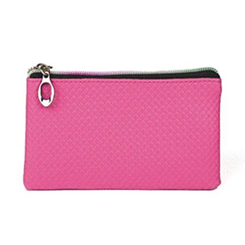 HuntGold 1 X Frauen PU-lederne Handtasche Reißverschluss Handtasche Lange Geldbörse Brieftasche (pink)