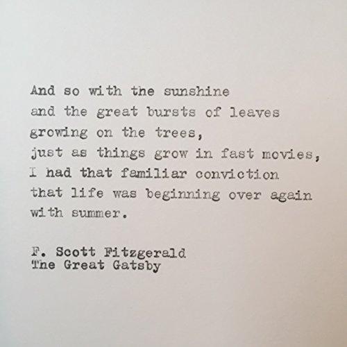 F Scott Fitzgerald Quotes Amazon.com: F. Scott Fitzgerald Great Gatsby hand typed quote on  F Scott Fitzgerald Quotes
