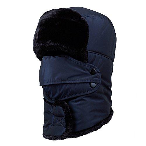 (None Winter Trapper Men Hat Ushanka Russian Windproof Mask Women Outdoor Skiing Hat(Navy) )